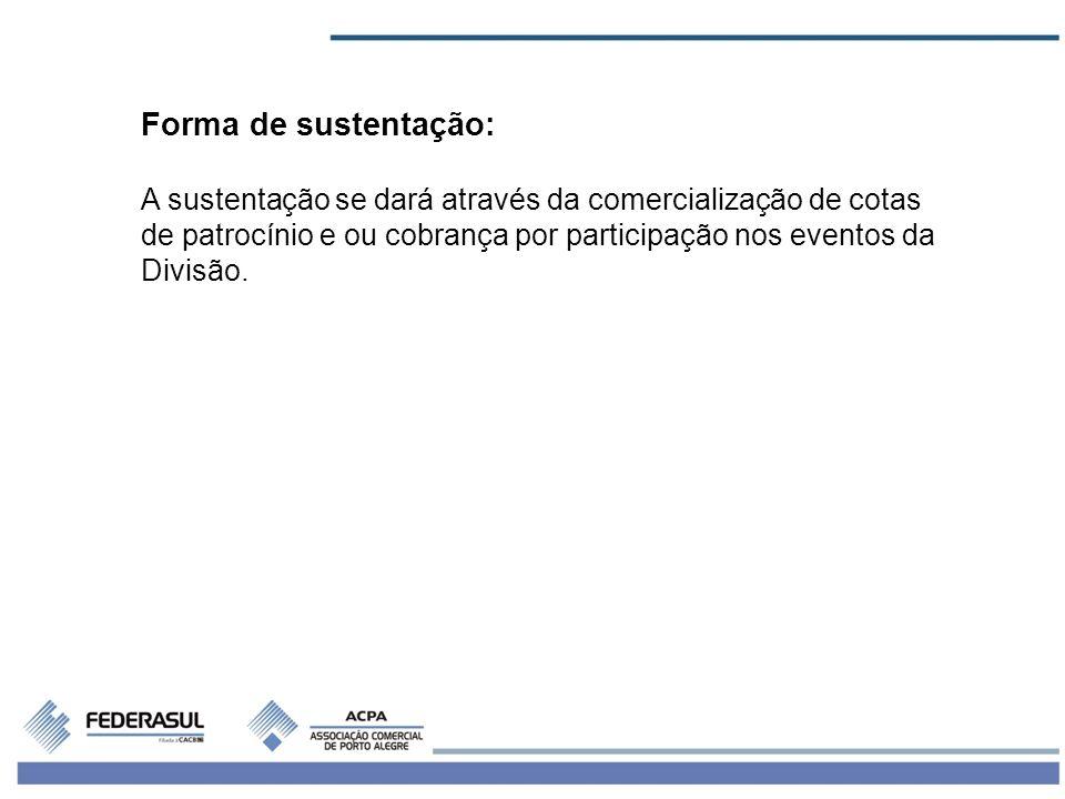 Forma de sustentação: A sustentação se dará através da comercialização de cotas de patrocínio e ou cobrança por participação nos eventos da Divisão.
