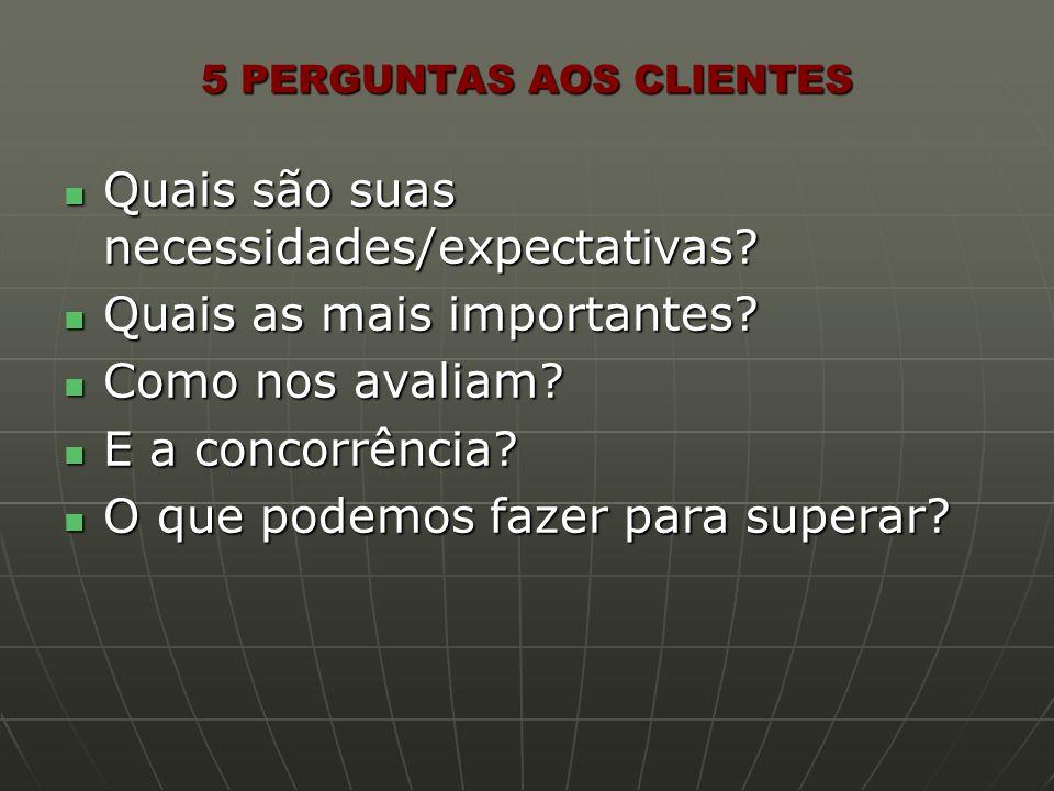 5 PERGUNTAS AOS CLIENTES Quais são suas necessidades/expectativas? Quais são suas necessidades/expectativas? Quais as mais importantes? Quais as mais