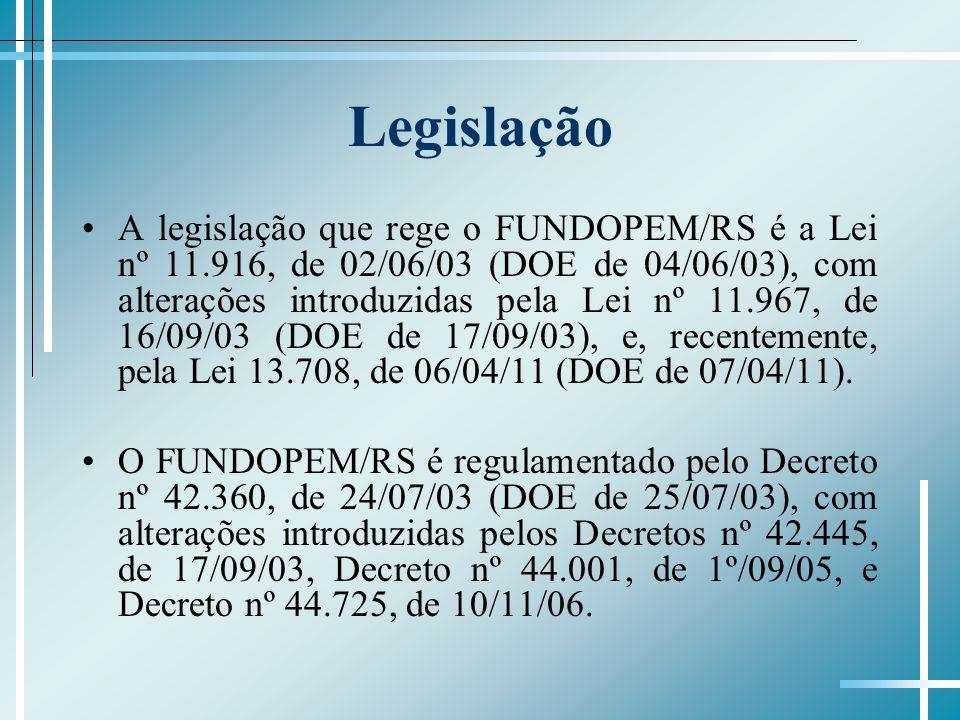 Legislação A legislação que rege o FUNDOPEM/RS é a Lei nº 11.916, de 02/06/03 (DOE de 04/06/03), com alterações introduzidas pela Lei nº 11.967, de 16