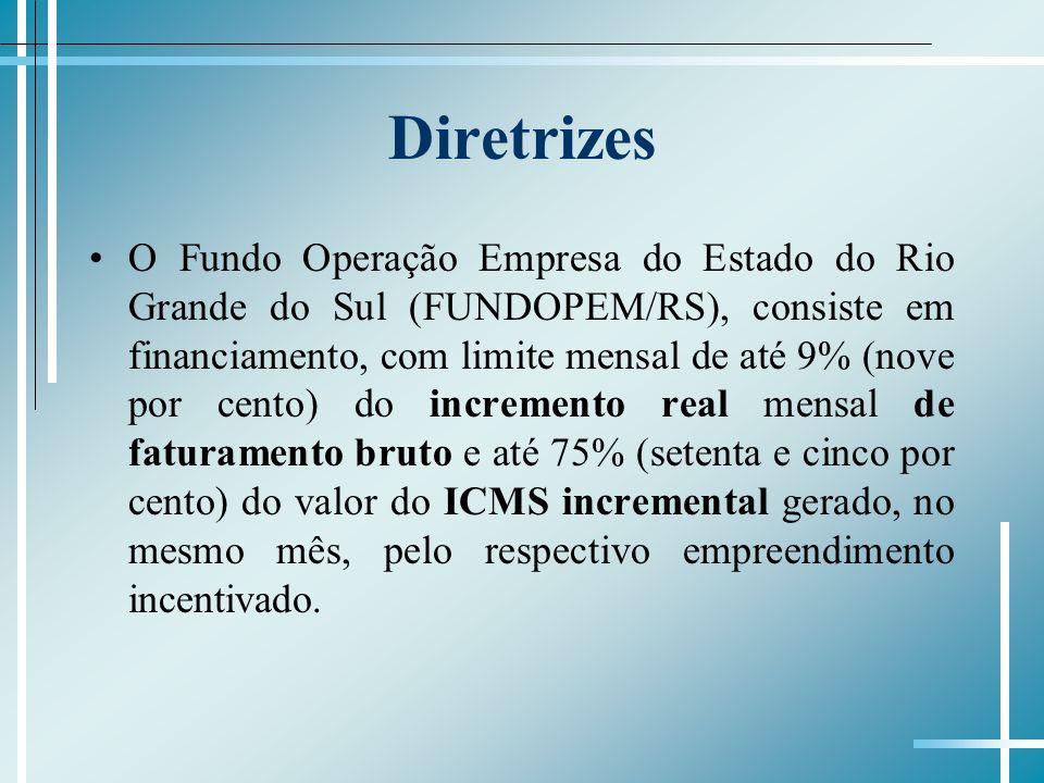 Diretrizes O Fundo Operação Empresa do Estado do Rio Grande do Sul (FUNDOPEM/RS), consiste em financiamento, com limite mensal de até 9% (nove por cen