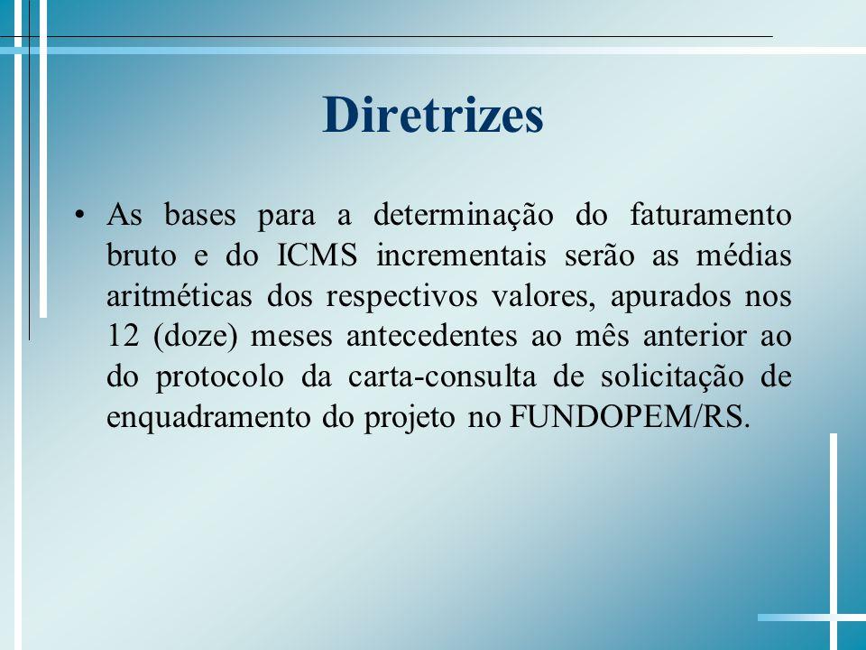 Diretrizes As bases para a determinação do faturamento bruto e do ICMS incrementais serão as médias aritméticas dos respectivos valores, apurados nos