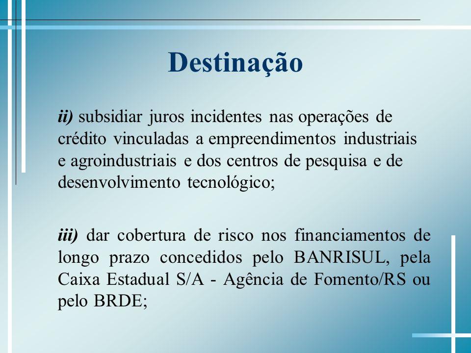Destinação ii) subsidiar juros incidentes nas operações de crédito vinculadas a empreendimentos industriais e agroindustriais e dos centros de pesquis