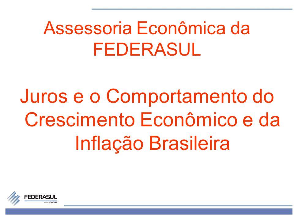 1 Assessoria Econômica da FEDERASUL Juros e o Comportamento do Crescimento Econômico e da Inflação Brasileira