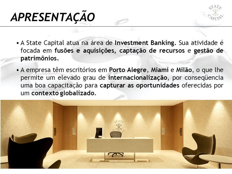 A State Capital atua na área de Investment Banking. Sua atividade é focada em fusões e aquisições, captação de recursos e gestão de patrimônios. A emp