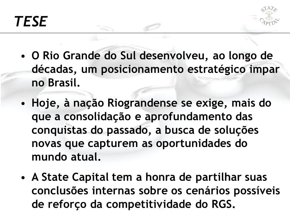 O Rio Grande do Sul desenvolveu, ao longo de décadas, um posicionamento estratégico impar no Brasil. Hoje, à nação Riograndense se exige, mais do que