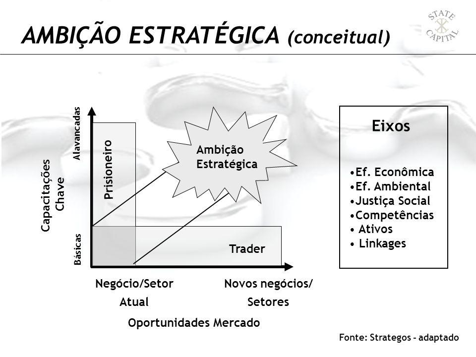 Capacitações Chave Básicas Alavancadas Negócio/Setor Atual Novos negócios/ Setores Ambição Estratégica Prisioneiro Trader Eixos Ef. Econômica Ef. Ambi