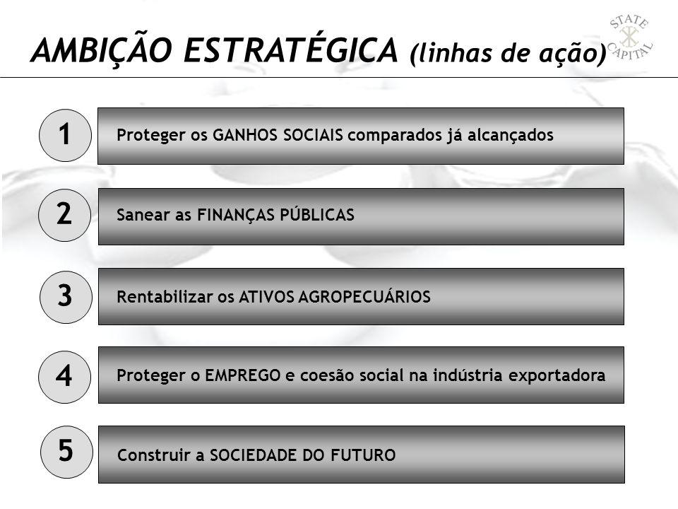AMBIÇÃO ESTRATÉGICA (linhas de ação) Proteger os GANHOS SOCIAIS comparados já alcançados Sanear as FINANÇAS PÚBLICAS Rentabilizar os ATIVOS AGROPECUÁR