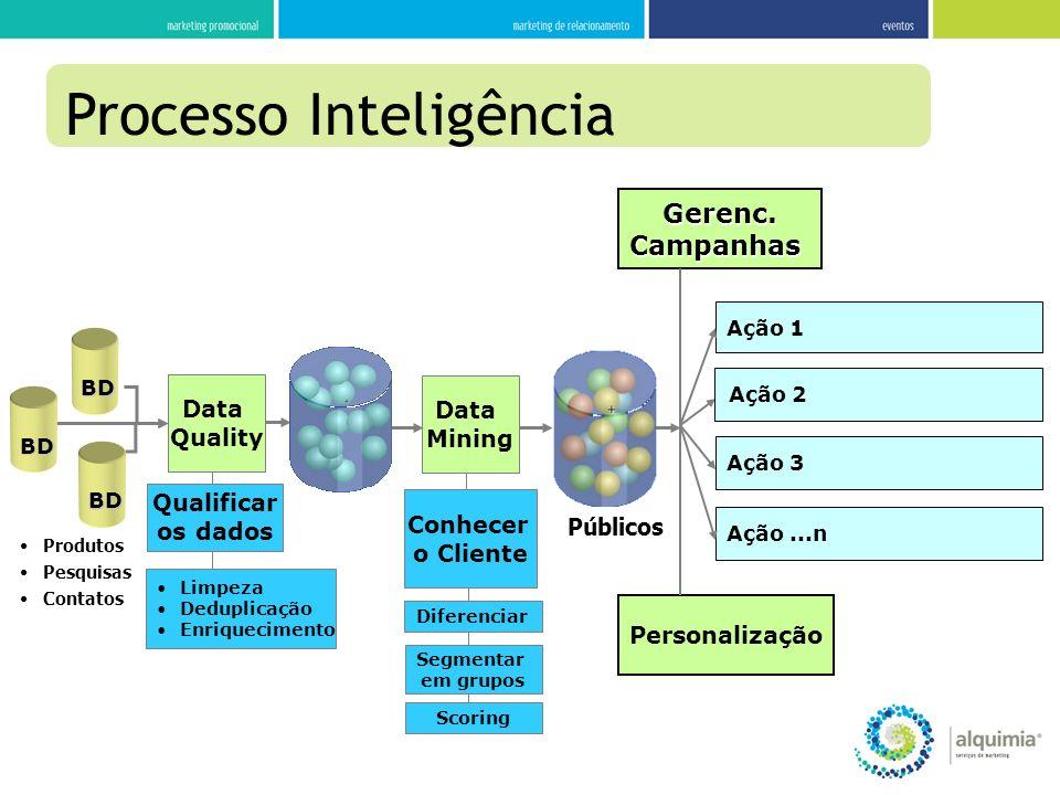 Processo Inteligência Personalização Gerenc.Campanhas Ação 3 Ação...n Ação 2 Ação 1 Data Mining Conhecer o Cliente Diferenciar Segmentar em grupos Púb