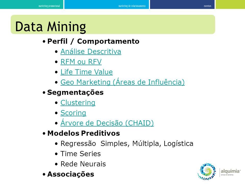 Perfil / Comportamento Análise Descritiva RFM ou RFV Life Time Value Geo Marketing (Áreas de Influência) Segmentações Clustering Scoring Árvore de Dec