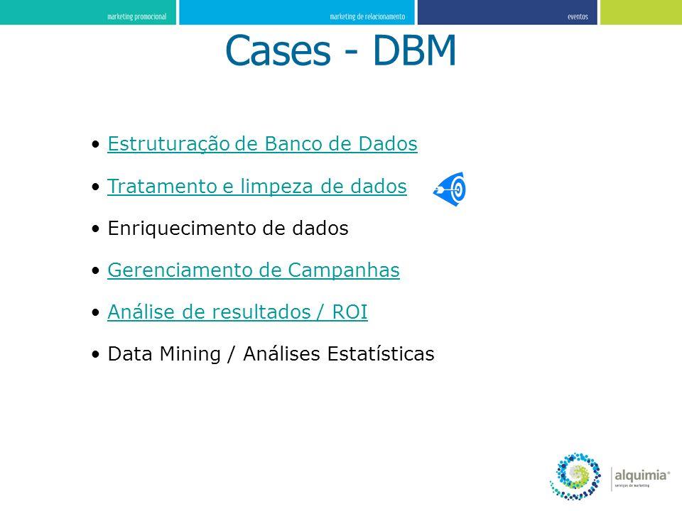 Cases - DBM Estruturação de Banco de Dados Tratamento e limpeza de dados Enriquecimento de dados Gerenciamento de Campanhas Análise de resultados / RO