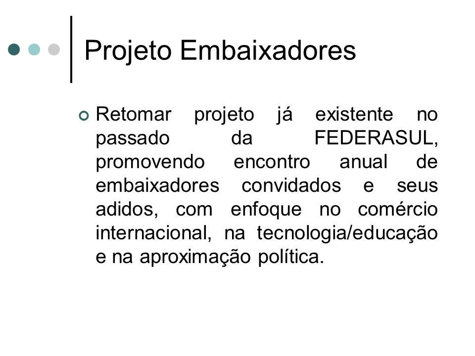 Projeto Embaixadores Retomar projeto já existente no passado da FEDERASUL, promovendo encontro anual de embaixadores convidados e seus adidos, com enf