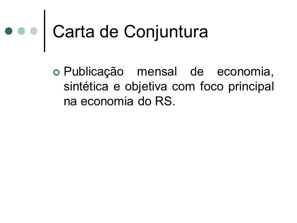 Carta de Conjuntura Publicação mensal de economia, sintética e objetiva com foco principal na economia do RS.