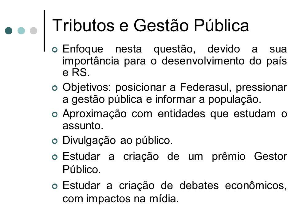Tributos e Gestão Pública Enfoque nesta questão, devido a sua importância para o desenvolvimento do país e RS. Objetivos: posicionar a Federasul, pres