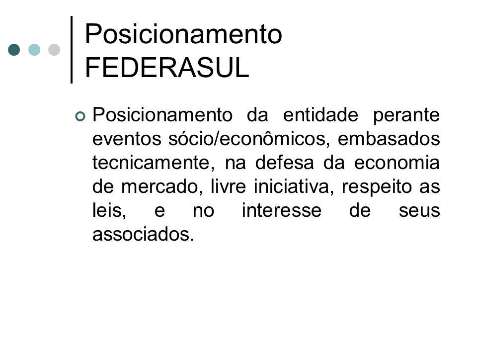 Posicionamento FEDERASUL Posicionamento da entidade perante eventos sócio/econômicos, embasados tecnicamente, na defesa da economia de mercado, livre