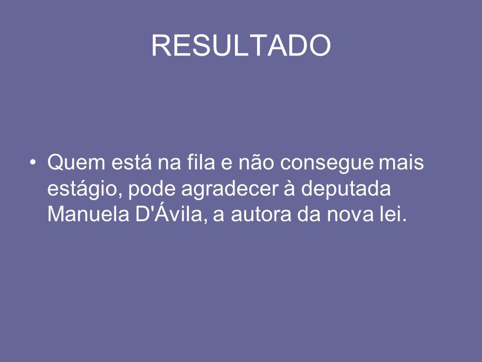 RESULTADO Quem está na fila e não consegue mais estágio, pode agradecer à deputada Manuela D'Ávila, a autora da nova lei.