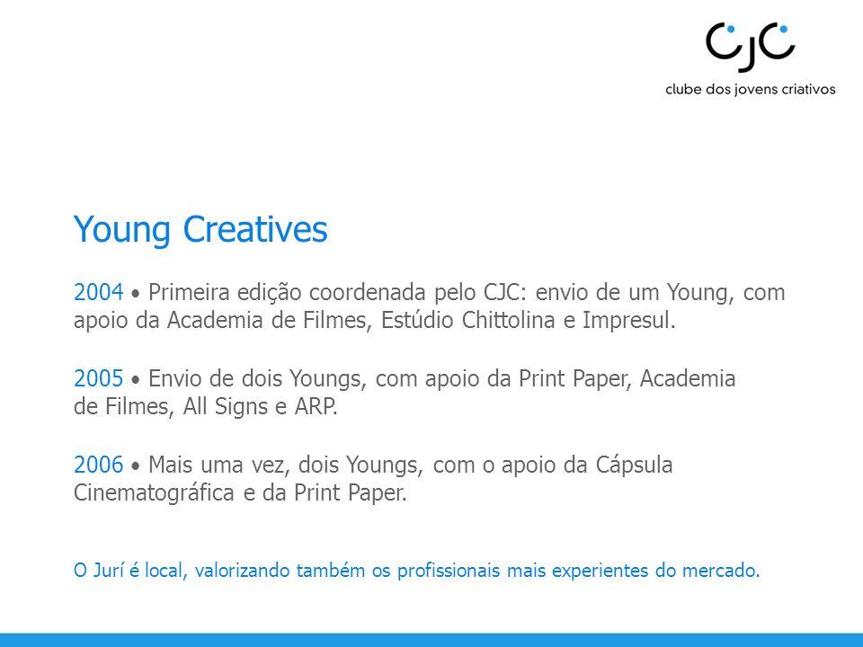 Young Creatives 2004 Primeira edição coordenada pelo CJC: envio de um Young, com apoio da Academia de Filmes, Estúdio Chittolina e Impresul. 2005 Envi