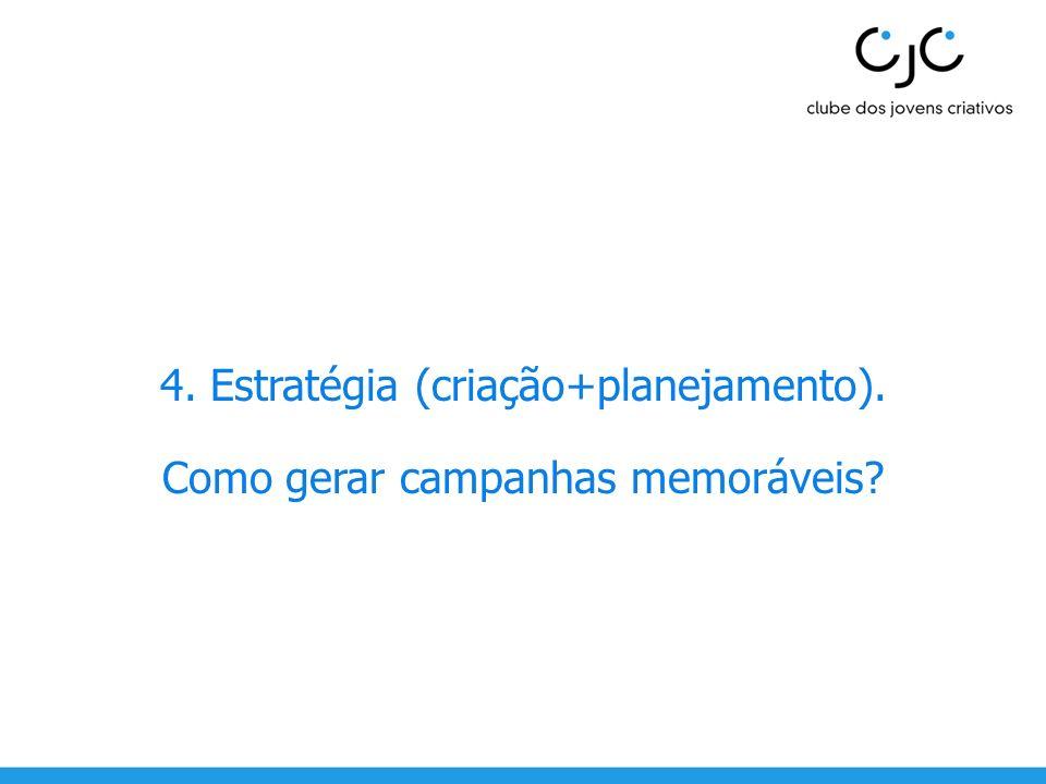 4. Estratégia (criação+planejamento). Como gerar campanhas memoráveis?
