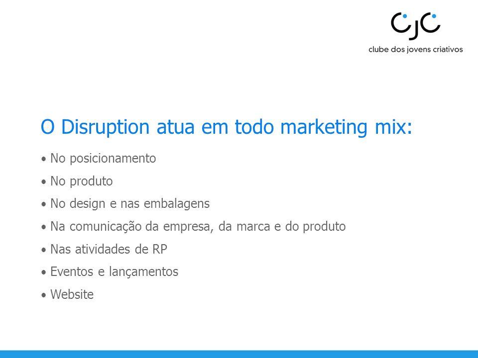 O Disruption atua em todo marketing mix: No posicionamento No produto No design e nas embalagens Na comunicação da empresa, da marca e do produto Nas