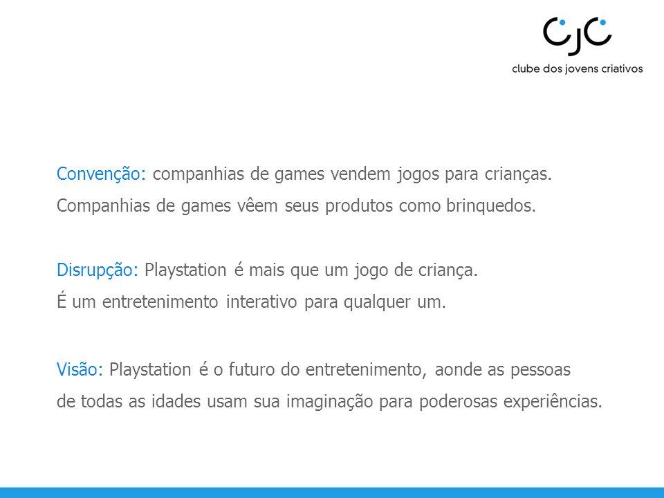 Convenção: companhias de games vendem jogos para crianças. Companhias de games vêem seus produtos como brinquedos. Disrupção: Playstation é mais que u