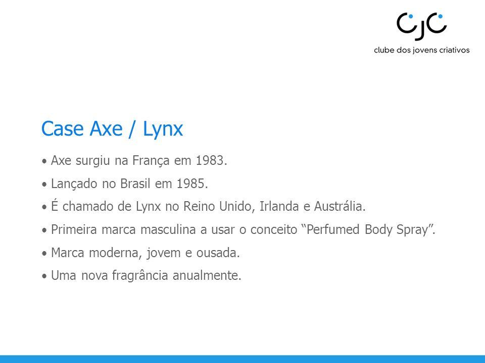 Case Axe / Lynx Axe surgiu na França em 1983. Lançado no Brasil em 1985. É chamado de Lynx no Reino Unido, Irlanda e Austrália. Primeira marca masculi