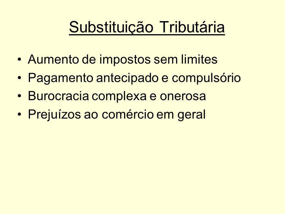 Substituição Tributária Aumento de impostos sem limites Pagamento antecipado e compulsório Burocracia complexa e onerosa Prejuízos ao comércio em gera
