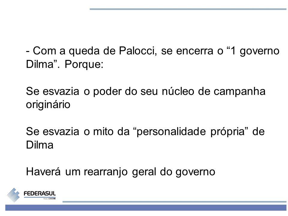 3 - Com a queda de Palocci, se encerra o 1 governo Dilma. Porque: Se esvazia o poder do seu núcleo de campanha originário Se esvazia o mito da persona
