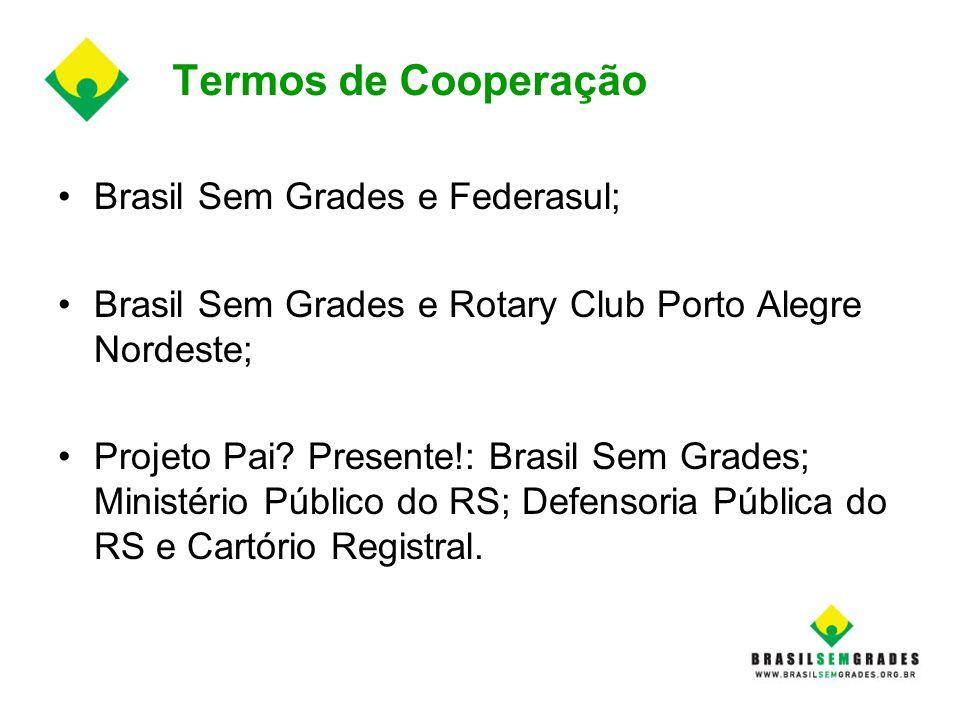 Termos de Cooperação Brasil Sem Grades e Federasul; Brasil Sem Grades e Rotary Club Porto Alegre Nordeste; Projeto Pai? Presente!: Brasil Sem Grades;