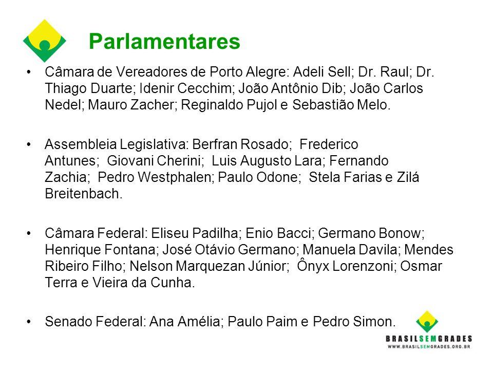 Parlamentares Câmara de Vereadores de Porto Alegre: Adeli Sell; Dr. Raul; Dr. Thiago Duarte; Idenir Cecchim; João Antônio Dib; João Carlos Nedel; Maur