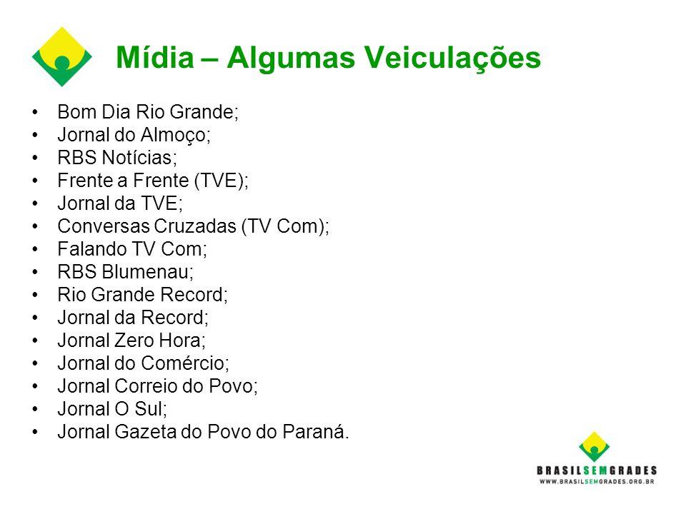 Mídia – Algumas Veiculações Bom Dia Rio Grande; Jornal do Almoço; RBS Notícias; Frente a Frente (TVE); Jornal da TVE; Conversas Cruzadas (TV Com); Fal