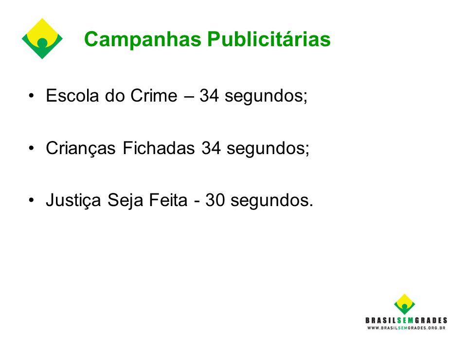 Campanhas Publicitárias Escola do Crime – 34 segundos; Crianças Fichadas 34 segundos; Justiça Seja Feita - 30 segundos.