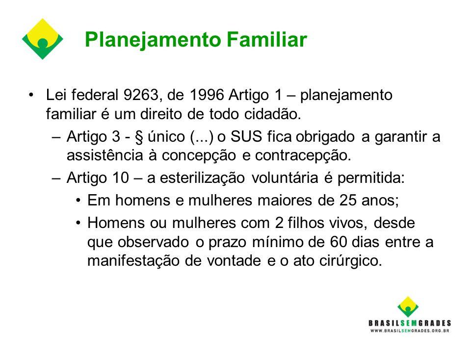 Planejamento Familiar Lei federal 9263, de 1996 Artigo 1 – planejamento familiar é um direito de todo cidadão. –Artigo 3 - § único (...) o SUS fica ob