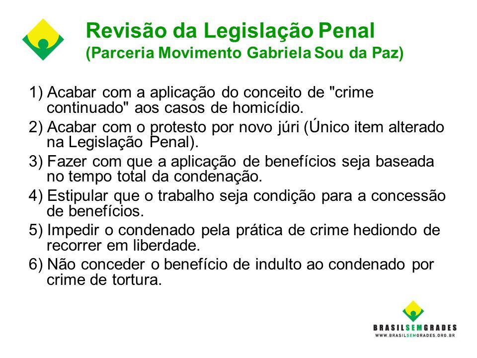 Revisão da Legislação Penal (Parceria Movimento Gabriela Sou da Paz) 1) Acabar com a aplicação do conceito de