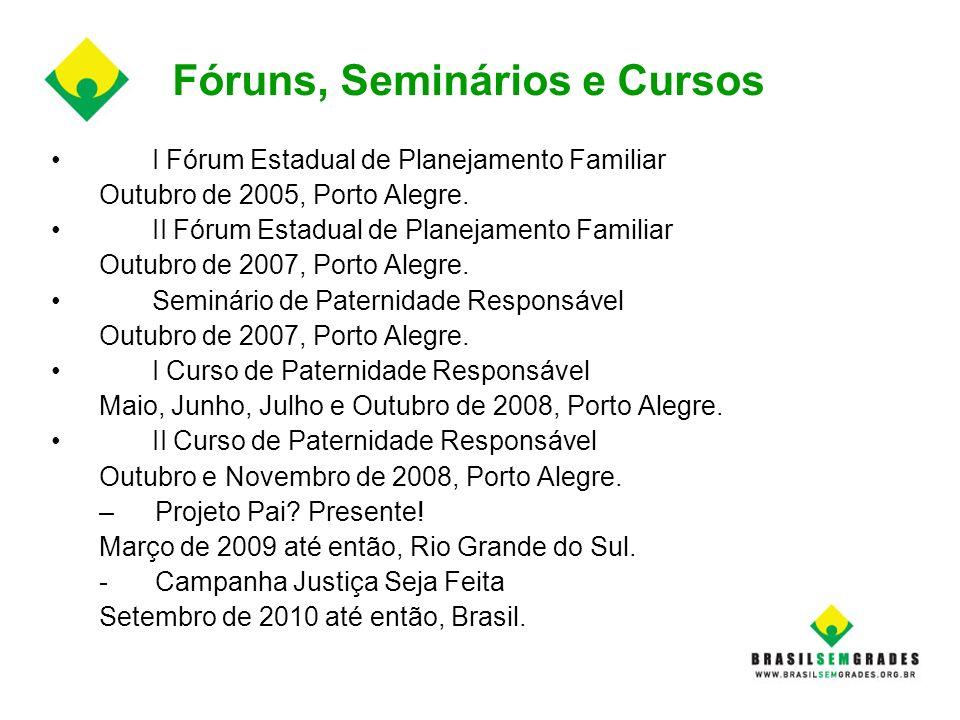 Fóruns, Seminários e Cursos I Fórum Estadual de Planejamento Familiar Outubro de 2005, Porto Alegre. II Fórum Estadual de Planejamento Familiar Outubr