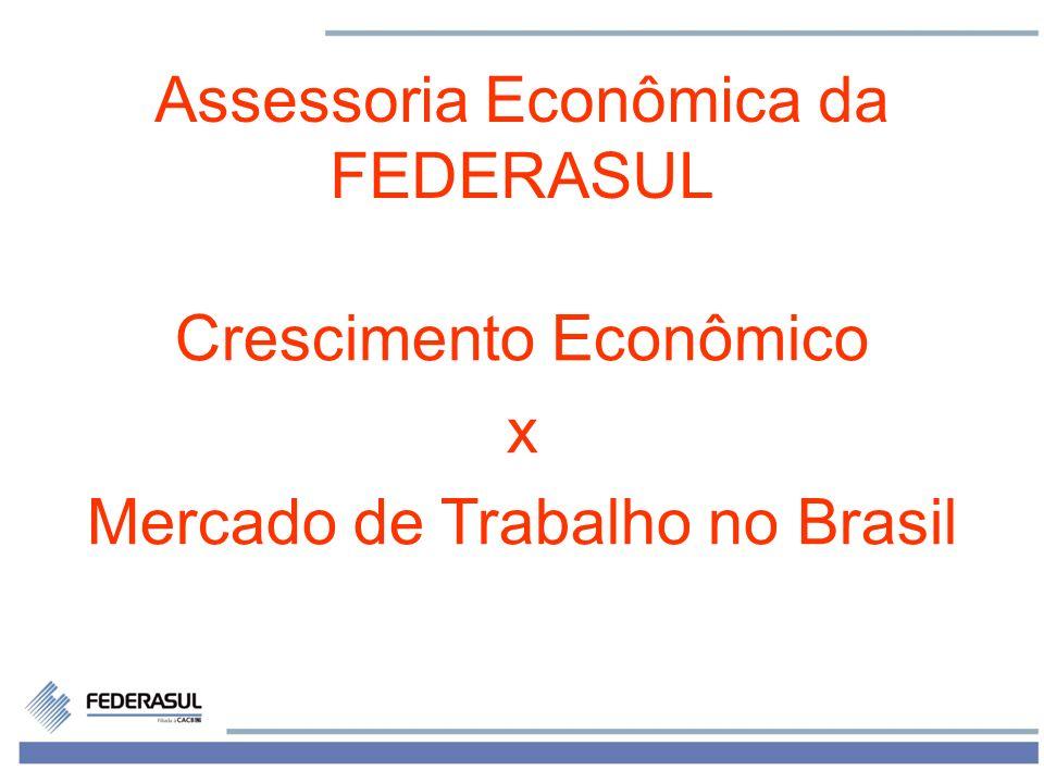 1 Assessoria Econômica da FEDERASUL Crescimento Econômico x Mercado de Trabalho no Brasil