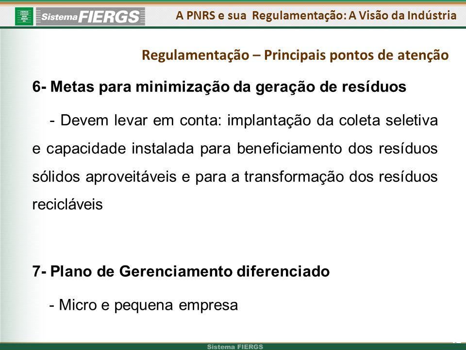 12 6- Metas para minimização da geração de resíduos - Devem levar em conta: implantação da coleta seletiva e capacidade instalada para beneficiamento dos resíduos sólidos aproveitáveis e para a transformação dos resíduos recicláveis 7- Plano de Gerenciamento diferenciado - Micro e pequena empresa A PNRS e sua Regulamentação: A Visão da Indústria Regulamentação – Principais pontos de atenção