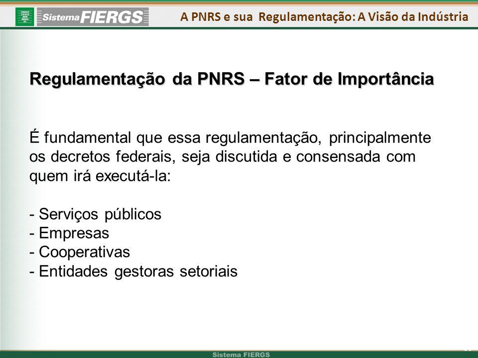 17 Regulamentação da PNRS – Fator de Importância É fundamental que essa regulamentação, principalmente os decretos federais, seja discutida e consensada com quem irá executá-la: - Serviços públicos - Empresas - Cooperativas - Entidades gestoras setoriais A PNRS e sua Regulamentação: A Visão da Indústria