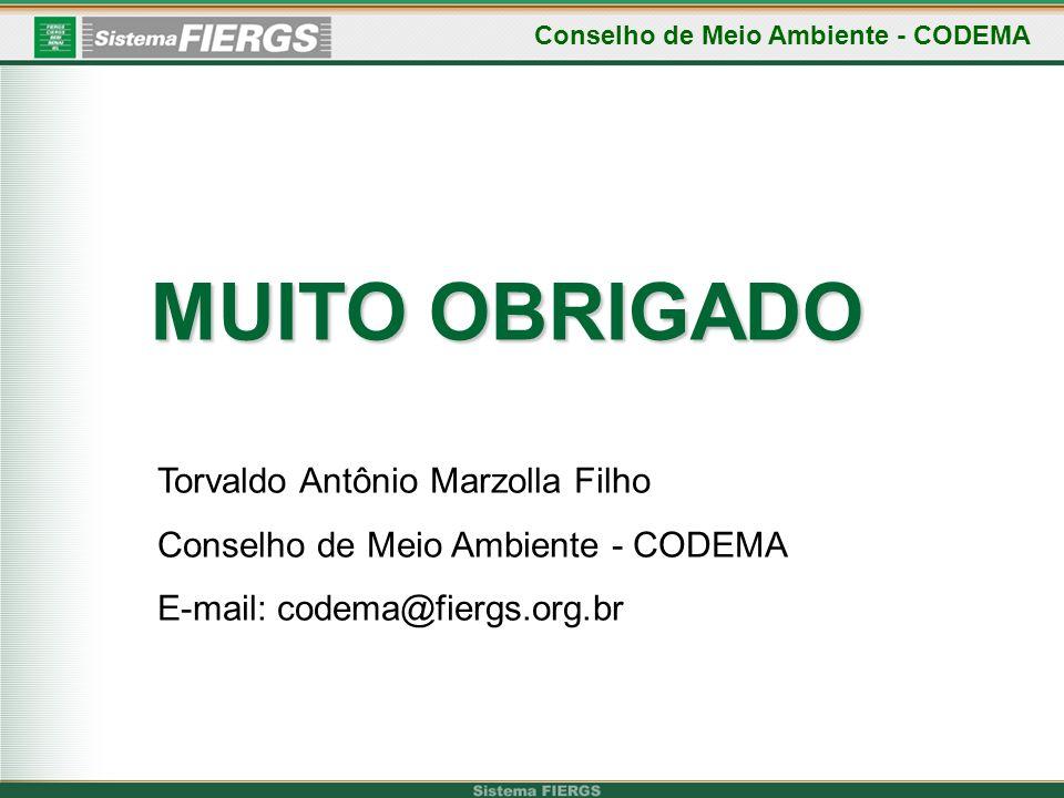 MUITO OBRIGADO Conselho de Meio Ambiente - CODEMA Torvaldo Antônio Marzolla Filho Conselho de Meio Ambiente - CODEMA E-mail: codema@fiergs.org.br
