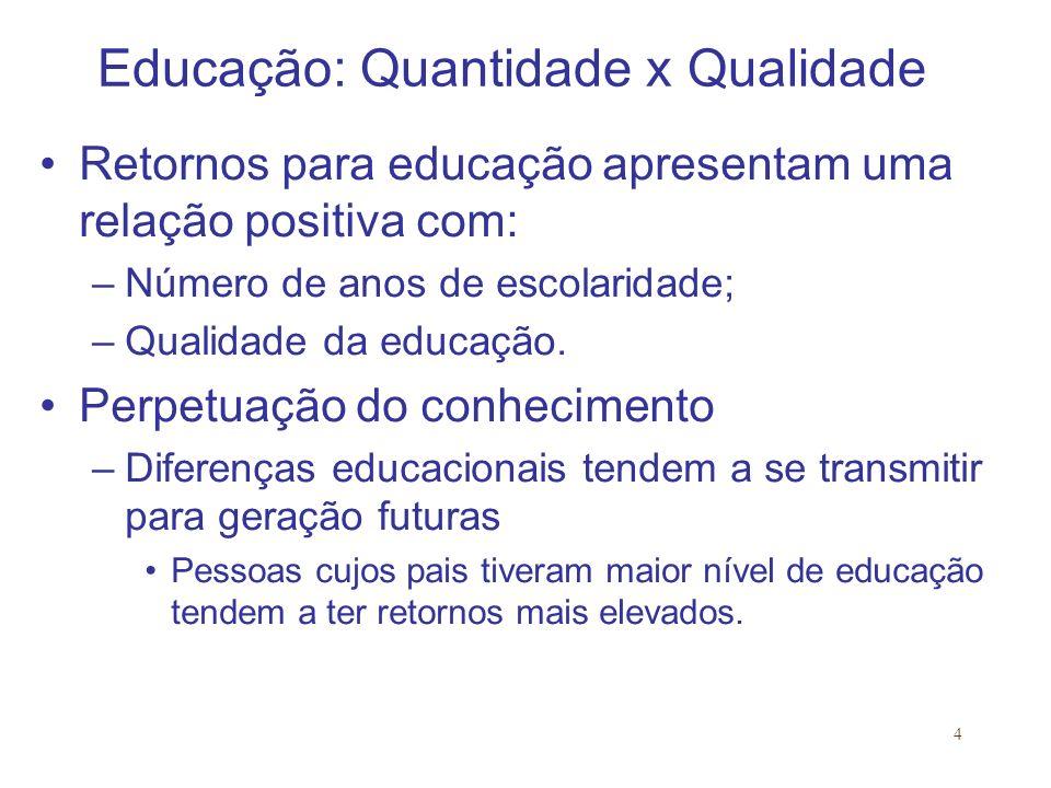 4 Educação: Quantidade x Qualidade Retornos para educação apresentam uma relação positiva com: –Número de anos de escolaridade; –Qualidade da educação