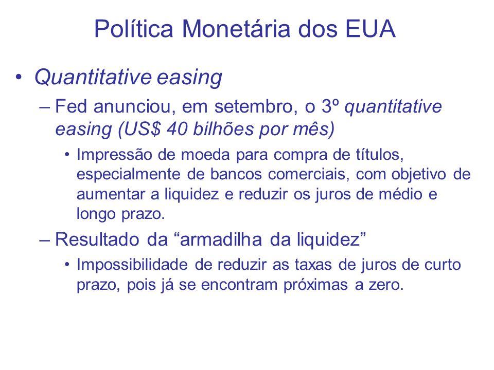 Política Monetária dos EUA Quantitative easing –Fed anunciou, em setembro, o 3º quantitative easing (US$ 40 bilhões por mês) Impressão de moeda para c