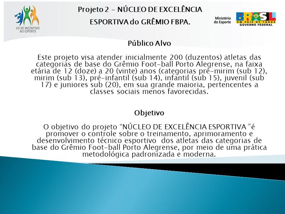Público Alvo Este projeto visa atender inicialmente 200 (duzentos) atletas das categorias de base do Grêmio Foot-ball Porto Alegrense, na faixa etária