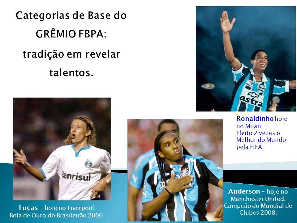 Categorias de Base do GRÊMIO FBPA: tradição em revelar talentos. Ronaldinho hoje no Milan. Eleito 2 vezes o Melhor do Mundo pela FIFA. Anderson – hoje