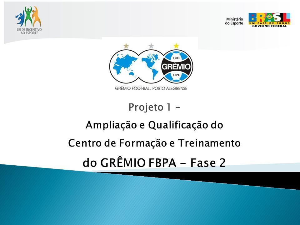 FASE 1 – Situação Existente: - 7 campos de futebol, - Mini-Estádio (arquibancadas, vestiários e sala musculação), - Vestiários funcionários, - Galpão Crioulo.