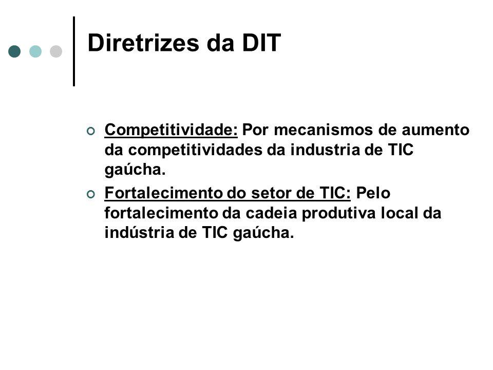 Planejamento Estratégico da DIT Temas Chaves InovaçãoTributação Qualificação do Estado e da Capital Competitividade Fortalecimento do setor de TIC Diretriz Estratégica da DIT Por mecanismos de incentivo à inovação nas empresas.