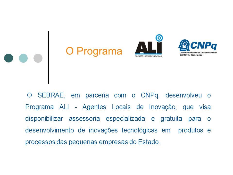 O Programa O SEBRAE, em parceria com o CNPq, desenvolveu o Programa ALI - Agentes Locais de Inovação, que visa disponibilizar assessoria especializada