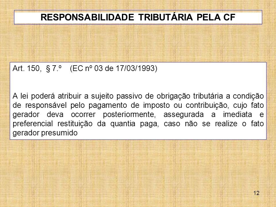 12 Art. 150, § 7.º (EC nº 03 de 17/03/1993) A lei poderá atribuir a sujeito passivo de obrigação tributária a condição de responsável pelo pagamento d