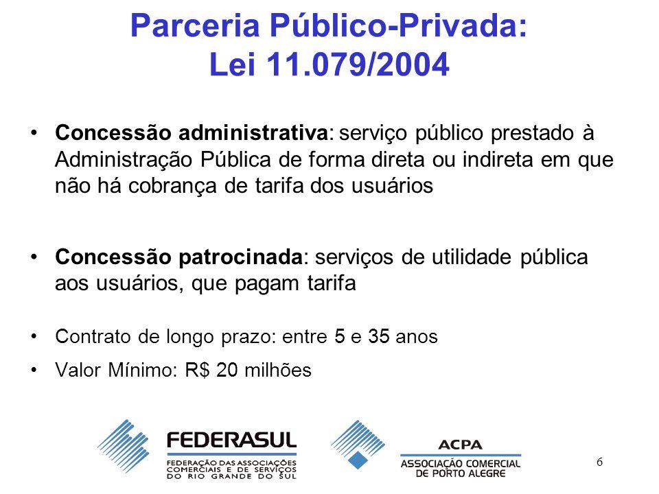6 Parceria Público-Privada: Lei 11.079/2004 Concessão administrativa: serviço público prestado à Administração Pública de forma direta ou indireta em