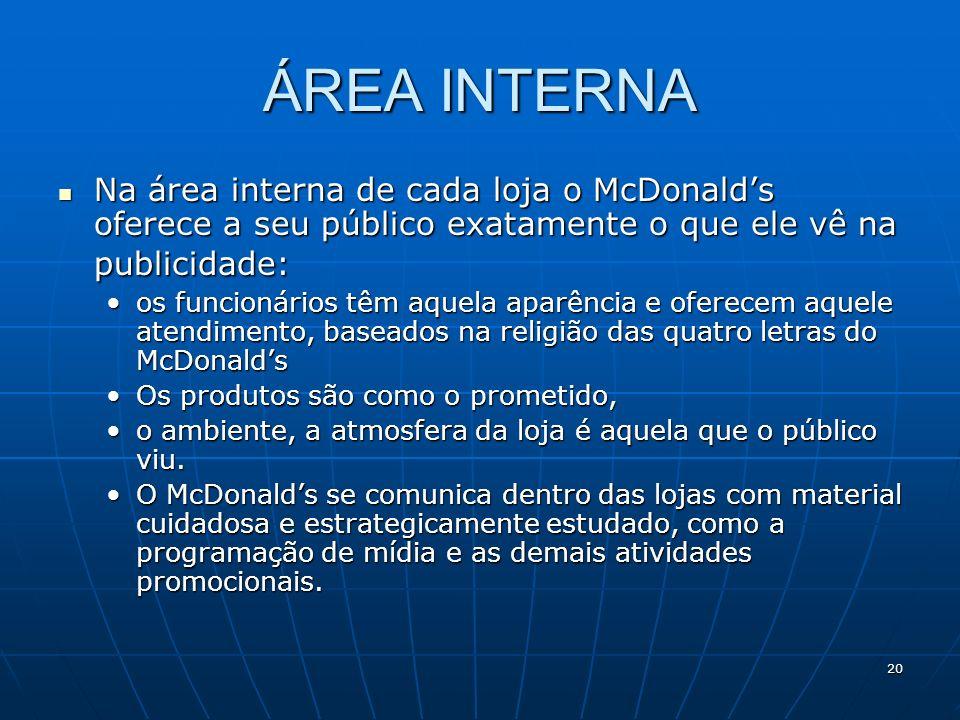 20 ÁREA INTERNA Na área interna de cada loja o McDonalds oferece a seu público exatamente o que ele vê na publicidade: Na área interna de cada loja o