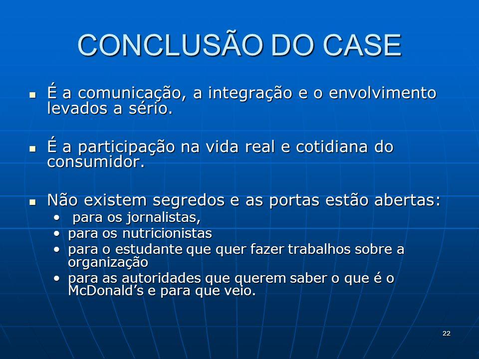 22 CONCLUSÃO DO CASE É a comunicação, a integração e o envolvimento levados a sério. É a comunicação, a integração e o envolvimento levados a sério. É