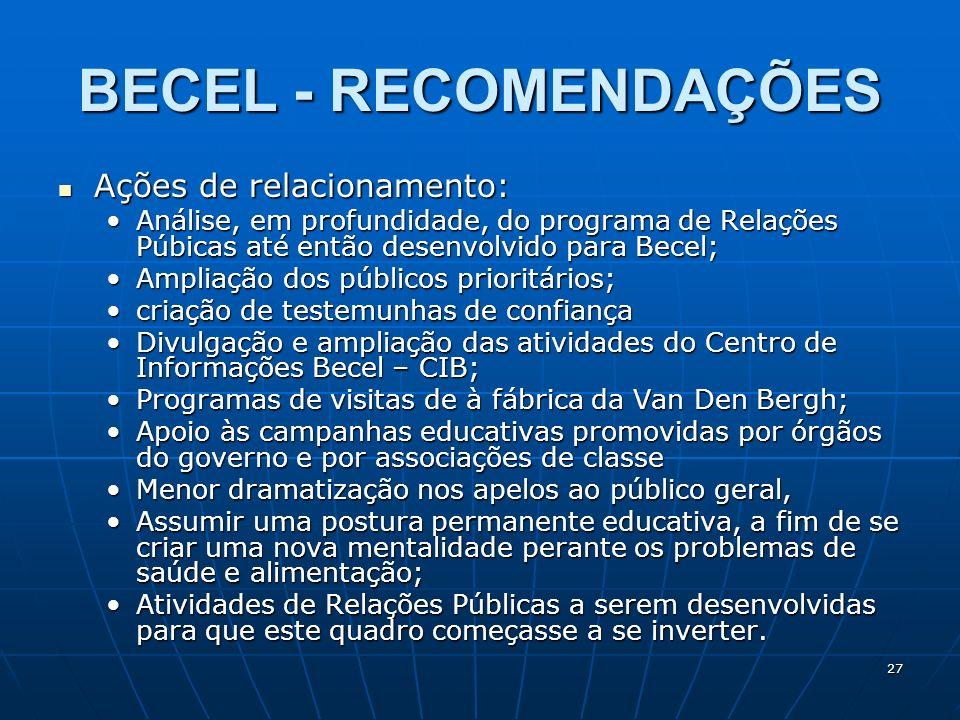27 BECEL - RECOMENDAÇÕES Ações de relacionamento: Ações de relacionamento: Análise, em profundidade, do programa de Relações Púbicas até então desenvo