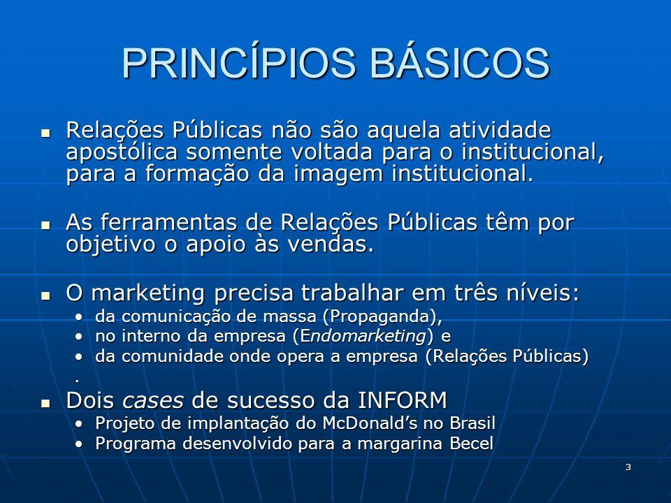 3 PRINCÍPIOS BÁSICOS Relações Públicas não são aquela atividade apostólica somente voltada para o institucional, para a formação da imagem institucion